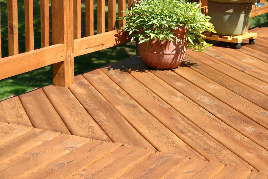 elevated wood pine deck