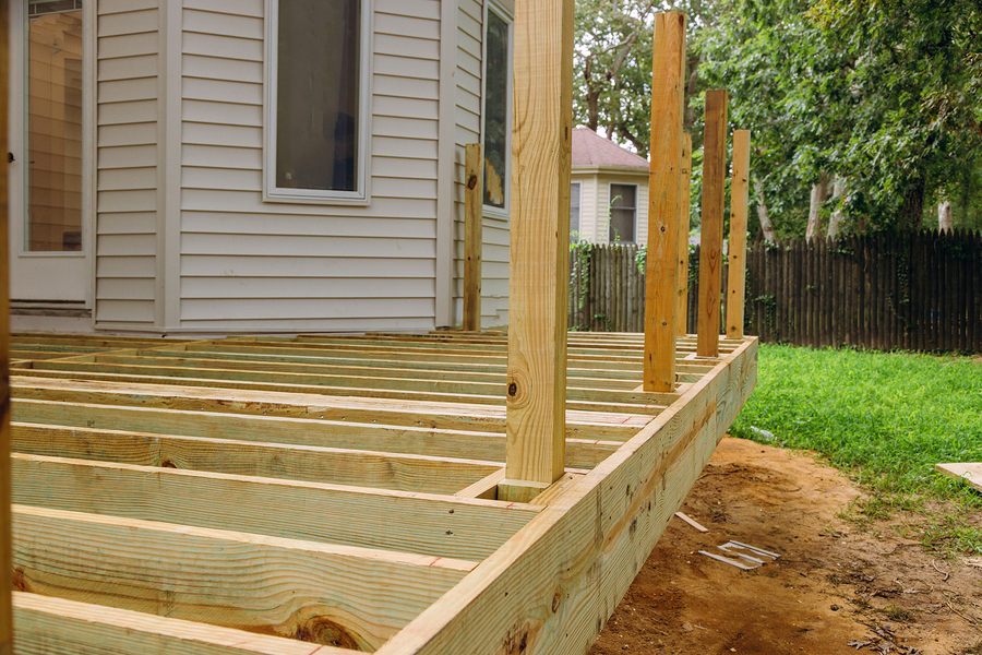 wood deck frame with small fences