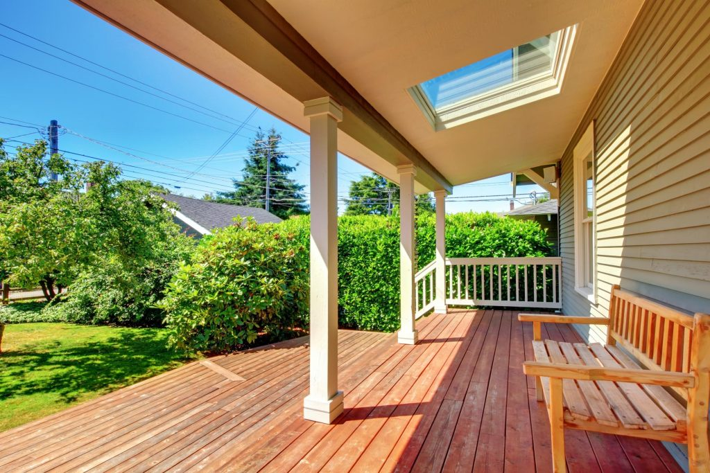 covered wood deck with shade